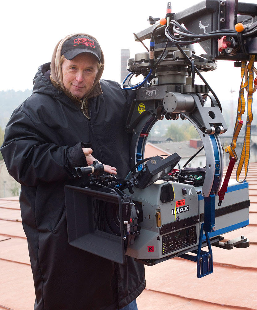 Mission Impossible Ghost Protocol director Brad Bird with IMAX camera rig