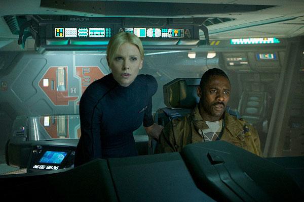 Charlize Theron, left, and Idris Elba on the bridge of the Prometheus. Photo: Kerry Brown