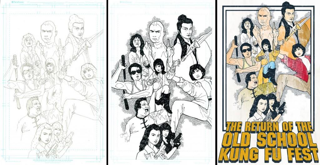 return-old-school-kung-fu-fest-poster-sketches-artwork