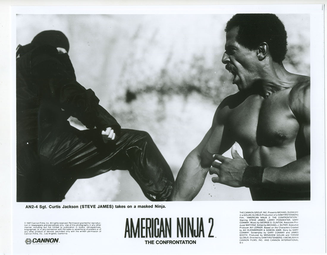 A lobby card featuring Steve James in American Ninja 2