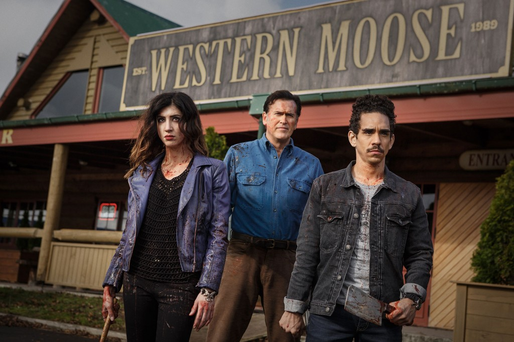 Dana DeLorenzo as Kelly, Bruce Campbell as Ash, and Ray Santiago as Pablo in Episode 106 of Starz Original Series Ash vs Evil Dead