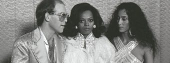 Elton John, Diana Ross and Cher back stage at awards show, early 1980s