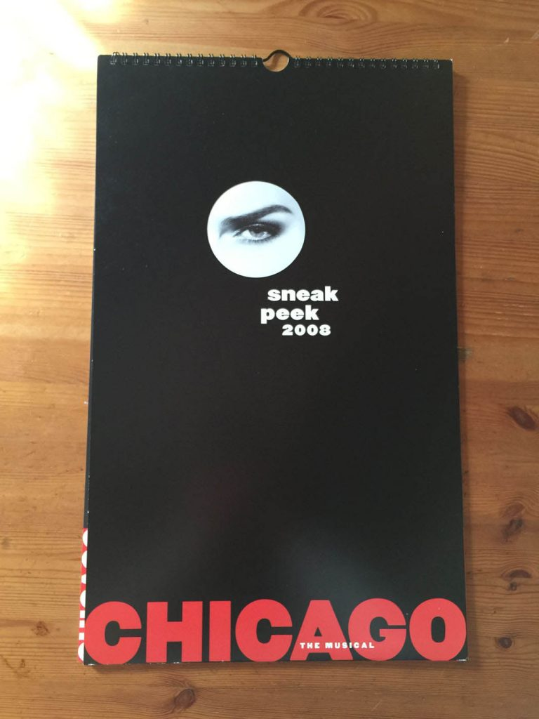 "Rare Chicago The Musical 2008 Promotional Die-Cut ""Sneak Peek"" Calendar with Gretchen Mol, Usher Raymond, Melanie Griffith and Many More Cast Members"