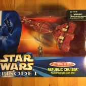 Star Wars Action Fleet Republic Cruiser with Qui-Gon Jinn Galoob Ship (1999) Star Wars: Episode I The Phantom Menace
