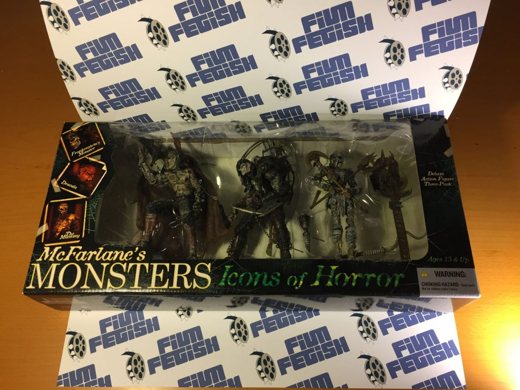 McFarlane's Toys Monsters: Icons of Horror Dracula, Frankenstein's Monster & The Mummy Action Figure 3-Pack