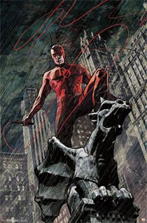 Daredevil Standing Above Gargoyle 22 x 34 inch Comic Book Poster