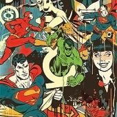 DC Comics Retro Montage Superman, Flash, Batman, Green Lantern 22 x 34 inch Poster