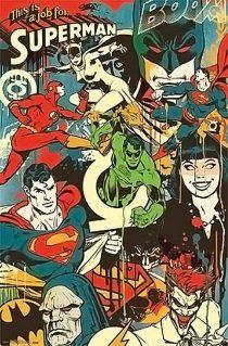 DC Comics Retro Montage Superman, Flash, Batman, Green Lantern 22 x 34 inch Poster