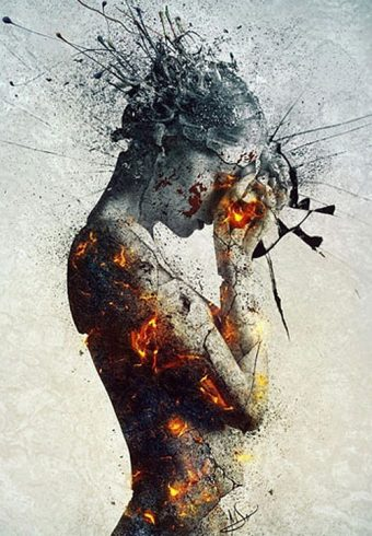 Deliberation Burned and and Cracked Skin 24 x 36 inch Art Poster