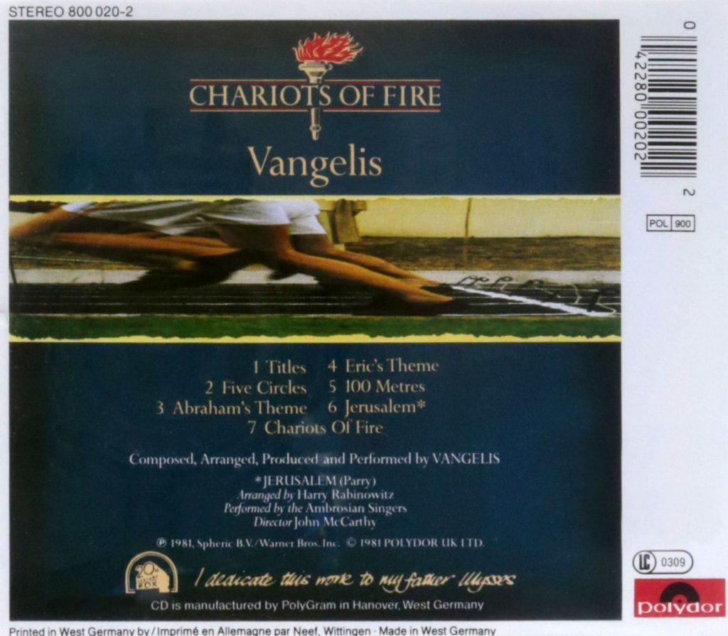 chariots of fire original soundtrack by vangelis film