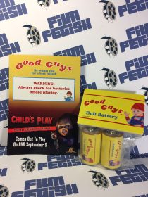 RARE Good Guys Doll Battery Pack Promotional Set with Child's Play 20th Anniversary Announcement Card