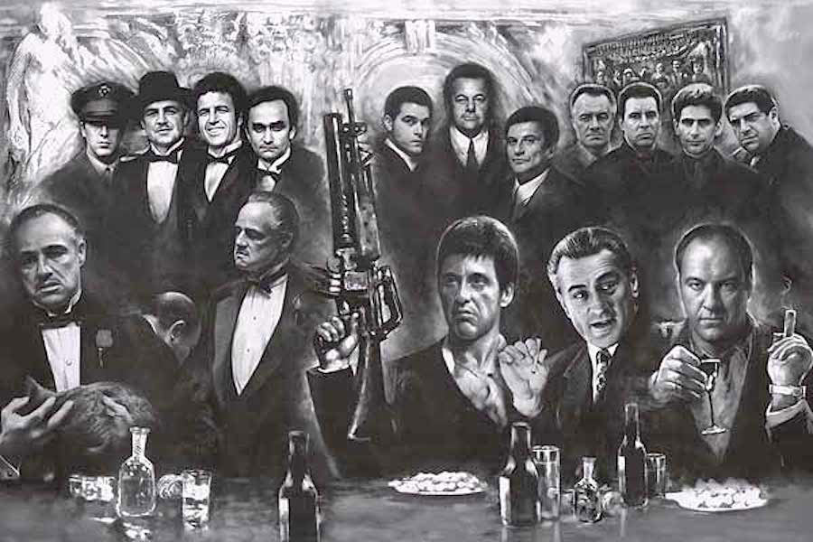 Movie Gangsters Black & White 36 x 24 Inch Collage Poster