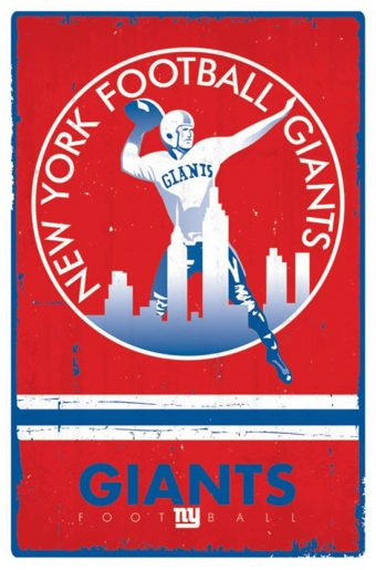New York Football Giants Retro Logo 22 x 34 Inch Sports Poster