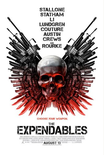 The Expendables 24 x 36 Inch Skull and Guns Movie Poster