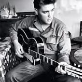 Elvis Presley Black and White with Guitar 24 x 36 Inch Poster