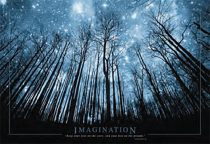Imagination Stars and Trees at Night 36 x 24 inch Art Poster