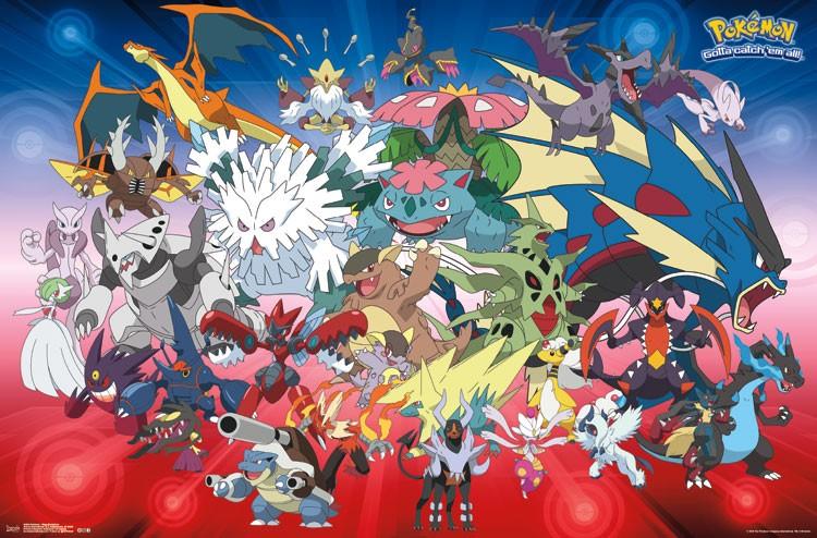 Pokemon Crew Mega Evolution 34 X 22 inch Poster