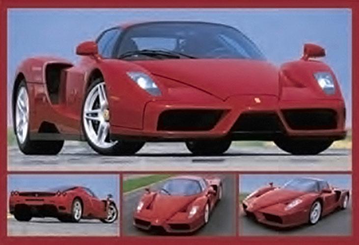A Tribute to Enzo Anselmo Ferrari – Red Collage 36 x 24 inch Auto Poster