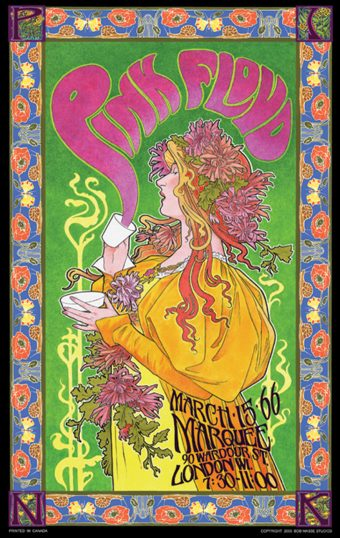Pink Floyd at Marquee, London, WI 1966 Bob Masse 14 x 23 inch Rock Music Concert Poster