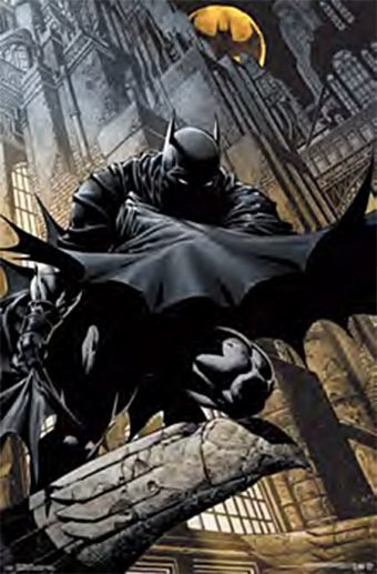 Batman the Dark Knight Lurking on a Building Perch 23 X 35 inch Comic Poster