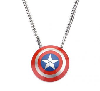 Marvel Captain America Civil War Shield Logo Pendant Stainless Steel Necklace (2016)