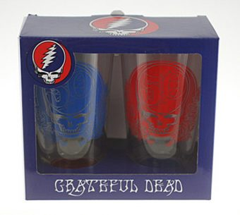 Grateful Dead 50th Anniversary 2-Pack Red and Blue Pint Glass Set