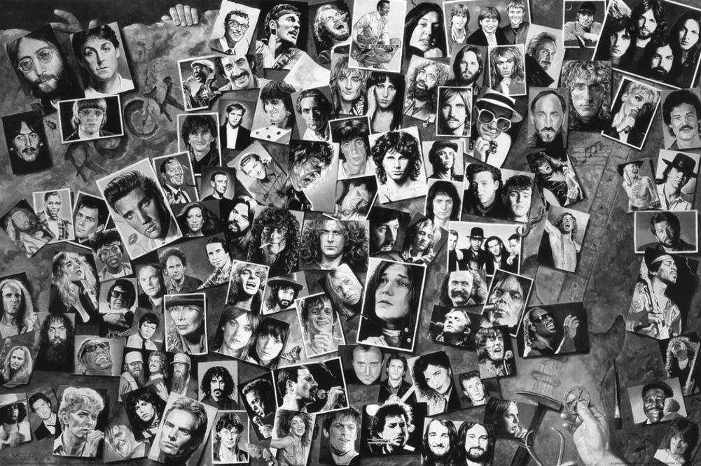 History of Rock and Roll Art Collage 36 X 24 inch Music Poster