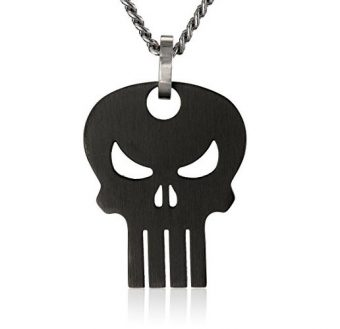 Marvel Comics Unisex Punisher Black Skull Stainless Steel Chain Pendant Necklace