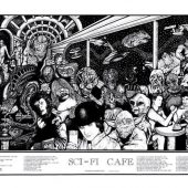 Sci-Fi Cafe Art 36 X 19 inch Movie Poster