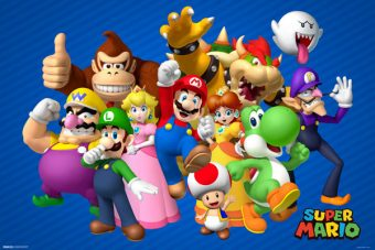 The Super Mario Brothers Crew of Characters 34 X 22 inch Game Poster