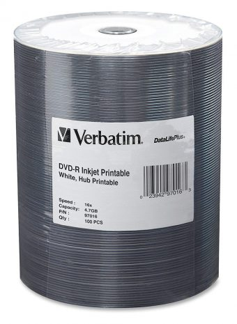 Verbatim Inkjet Hub Printable DVD-R – 16x Data Life Plus 100-Pack