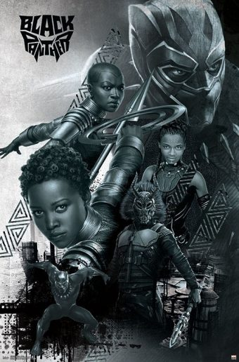 Black Panther Black and White Montage 22 x 34 inch Movie Poster