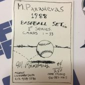 RARE Michael Paraskevas 1st Series Signed/Numbered #84/250 Drawn Baseball Card Full Set (1988) – Don Mattingly