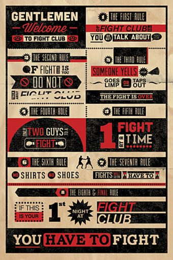 Fight Club Rules 24 x 36 inch Text Movie Poster