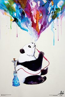 Hookah Panda 24 x 36 inch Art Poster