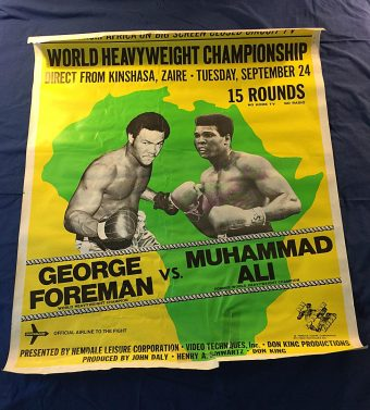 World Heavyweight Championship George Foreman vs Muhammad Ali 39 x 47 inch Original Simulcast Promotional Poster