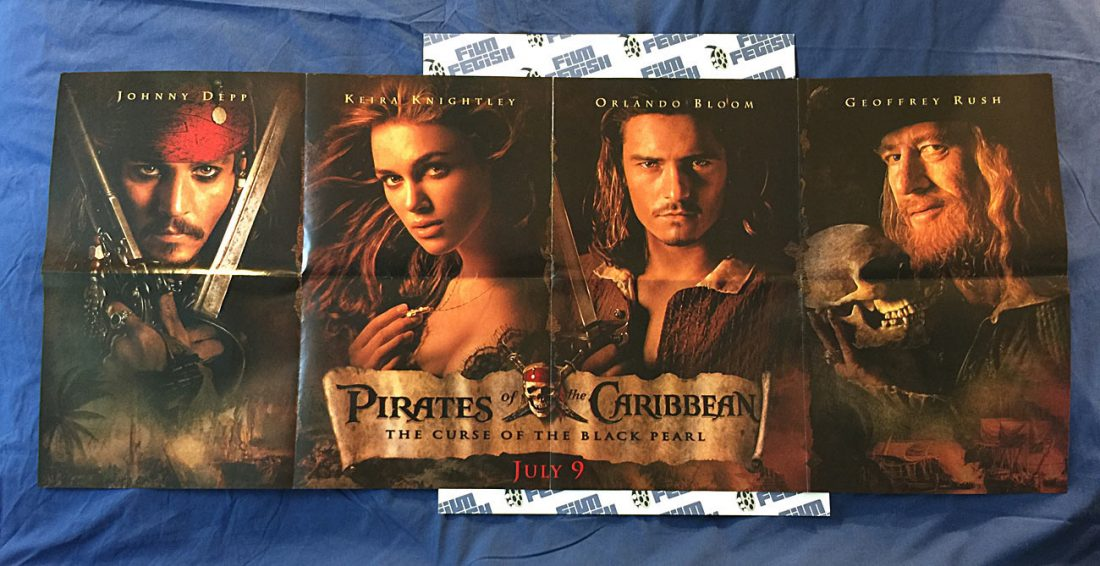 RARE Pirates of the Caribbean: The Curse of the Black Pearl Original 50 x 21 inch Double-Sided Magazine Insert Poster Ad (2003)