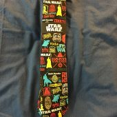 Star Wars Universe Character Silhouettes Men's Pop Stickers Colorful Pattern Necktie