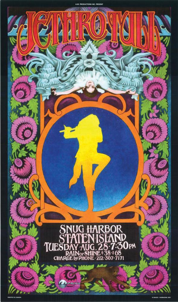 Jethro Tull Snug Harbor Staten Island August 28 Bob Masse 14×24 inch Music Concert Poster