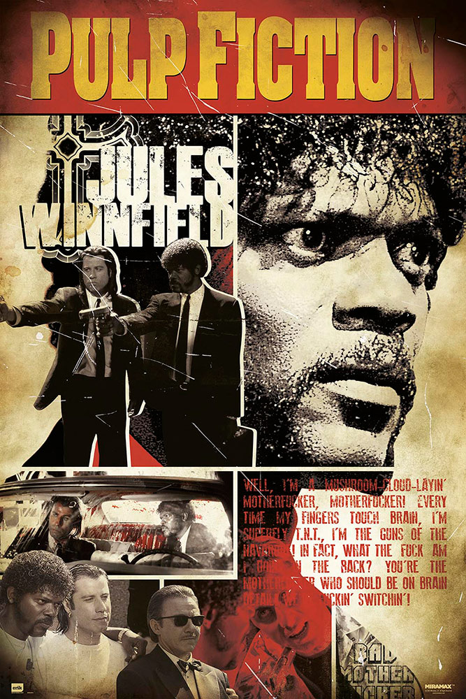 Pulp Fiction Samuel L. Jackson Jules Winnfield Character 24 x 36 inch Movie Poster