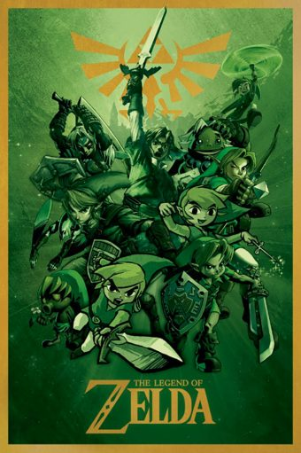 The Legend of Zelda – Green Collage with Sword 24 X 36 inch Game Poster