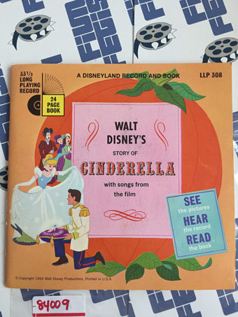 Walt Disney's Story of Cinderella with Songs from the Film 24 Page Book and Record (1965) 84009