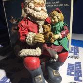 Santa's World Fabric Mache 8″ Seated Santa Holding Girl Table Piece