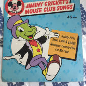 Jiminy Cricket's Mouse Club Songs 45RPM Vinyl Walt Disney's Mickey Mouse Club