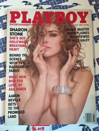 Playboy Magazine (July 1990) Sharon Stone, Asa Baber, Quincy Jones, Aaron Neville [86015]