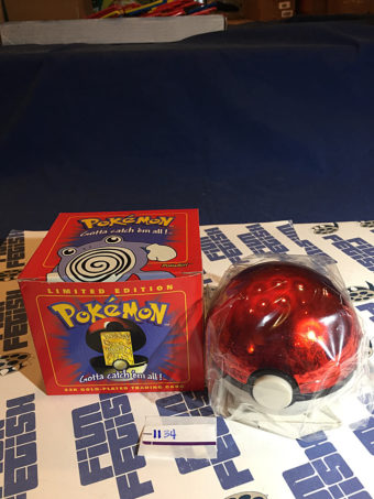 Burger King Pokemon 23K Gold Trading Card Poliwhirl Pokeball Red Box (1999) [1134]