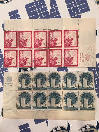 UN Stamps 1st UN Issue 1951 2 Sheets of 10 Value 1 1/2c (1951)
