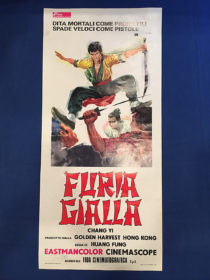 RARE The Fast Sword (Furia Gialla, Iron Fighters) 13×27 inch Original Italian Insert Movie Poster (1971) Chang Yi