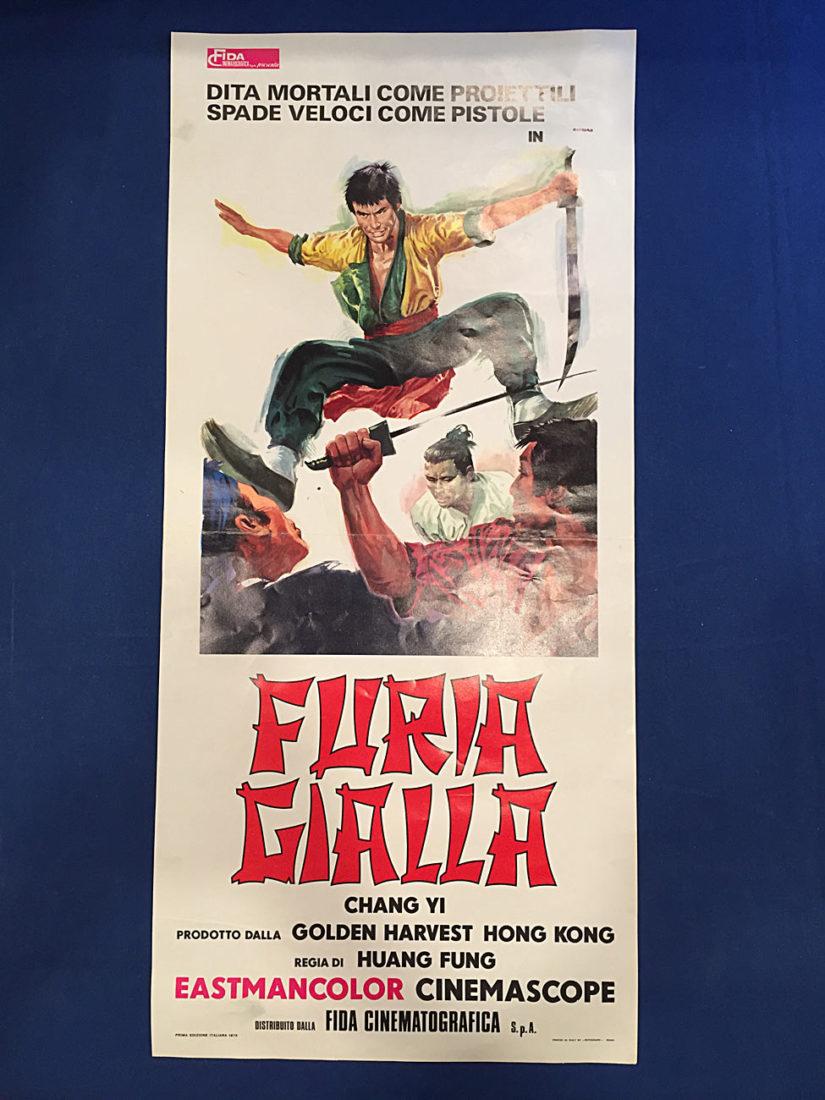 RARE The Fast Sword (Furia Gialla, Iron Fighters) 13×27 inch Original Italian Insert Movie Poster (1971) Chang Yi
