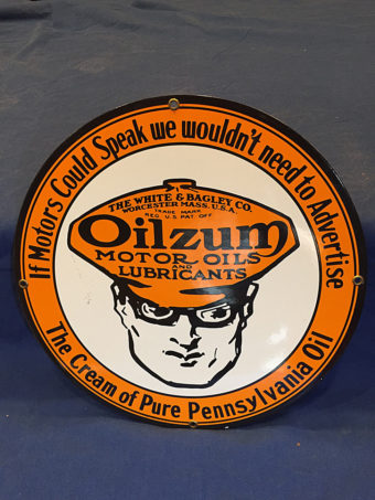 Vintage Oilzum Motor Oils and Lubricants White & Bagley Co. 12 inch Sign Gas Station Garage